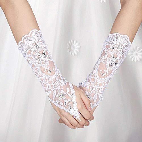 Brauthandschuhe Spitzenhandschuhe Hochzeit Braut Hochzeitshandschuhe Brautkleid Spitze Fingerlose Handschuhe mit Spitze Blumen für Hochzeitsfest ( Farbe : Weiß ) - 6