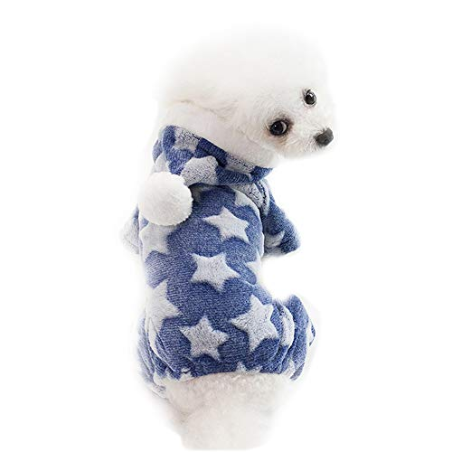 BulzEU - – Lovely Star Dog Pyjama Jumpsuit Hoodie Mantel Coral Fleece Winter Warm Pullover Mantel Jacken Hunde Kleidung für kleine mittelgroße Teddy, Yorkshire Terrier, Chihuahua