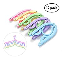 Fittolly 10 Pcs Portable Folding Clothes Hangers Non-slip Drying Rack for Travel Home (5 Colors)