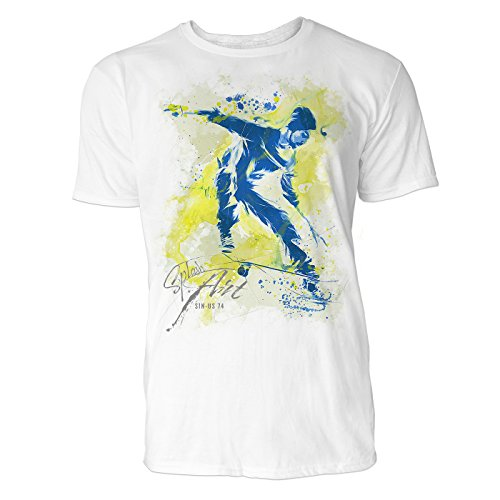 Skateboarder Sinus Art ® Herren T Shirt ( Weiss ) Crewneck Tee with Frontartwork (Skateboard Von Bam Margera)
