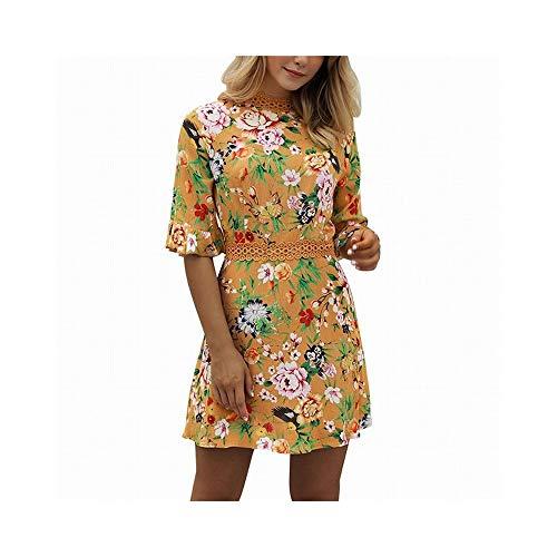 Floral Bell (ZSRHH-Kleid Frauenkleid Strandkleid Frauen mit Rundhalsausschnitt Bell Sleeve Floral Mini Dress (Farbe : Gelb, Size : M))