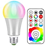 iLC LED Lampadine Colorate Edison Cambiare colore Lampadina RGB+Bianca Dimmerabile - 120 Scelte di Colore - 10 Watt E27 RGBW LED Lampadine Led a Colori - Telecomando Incluso