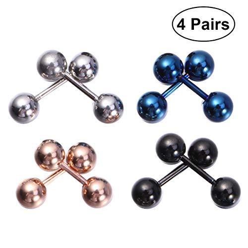 BESTOYARD 8PCS 5MM Unisex bola de acero inoxidable con barra de tornillo pequeños pendientes joyería del clavo del oído del oído de la lengua del anillo de la barra del pezón Set Piercing de joyería (2 * acero, 2 * negro, 2 * oro rosa, 2 * azul)