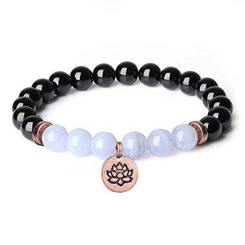 COAI Geschenkideen Yoga Armband aus Schwarzem Turmalin und Blaue-Textur Stein mit Lotosblume Zubehör Rosarot für Damen
