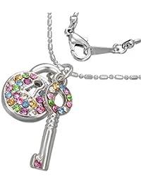 Mode Kristall Vorhängeschloss Schlüssel Charm Halskette mit Schmucksteinen - Bunt