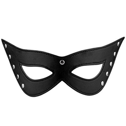 TRIXES schwarze Kunstleder Katzen Augen Maske Sexy Kostüm Masquerade