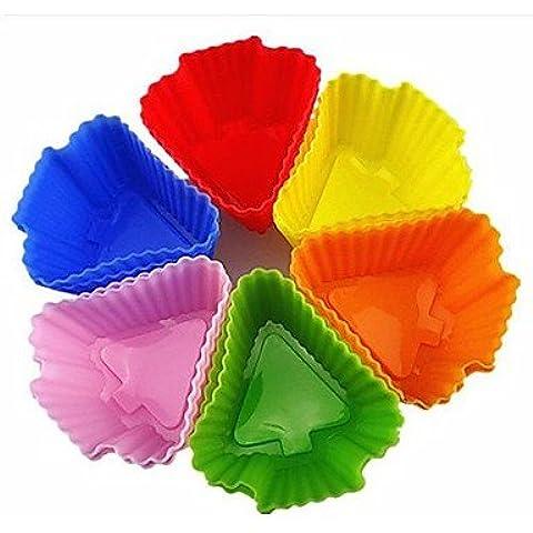 LY&HYL Albero Forma Muffin Stampi, Stampi Cupcake, 12 Pezzi per Set, L 6 centimetri x W x H 6 centimetri 3cm, casuale colori assortiti , Multi Color