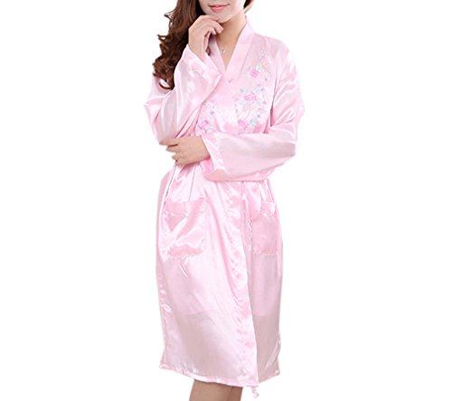 Luck Femme Chemises de Niut Chambre Pyjama Kimono Robe avoir Nuisette Bretelle sans Bouton/avoir Ceinture en Polyester Rose Foncé