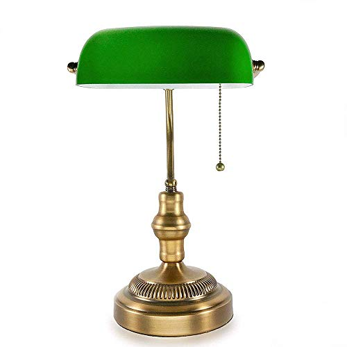 Douerye Vintage Schreibtischlampe, handgefertigter Retro Holzsockel, Exquisite milchweiße Mangnolia Bloom-Form, die Glasschirm sucht, antike Tischleuchten für Büro, Libirary,Brass -