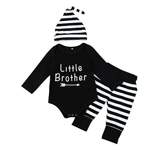 Jaminy Spielanzug gestreift dreiteilige Kinder Buchstaben,Kleinkind kleinkinder Baby Boys Letter Pullover + Stripe Hosen + Hut Outfit Kleider Set (80)