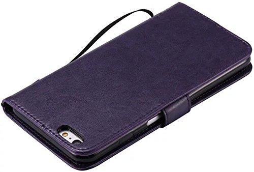 Nnopbeclik Coque Iphone 6 Plus Apple / Coque Iphone 6S Plus Apple Mode Fine Folio Wallet/Portefeuille en Bonne Qualité PU Cuir Housse pour Iphone 6 Plus Coque cuir / Iphone 6S Plus Coque apple (5.5 Po pourpre