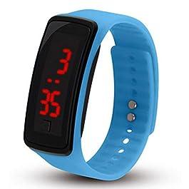 Bambini di orologio da polso digitale touch screen LED orologio bracciale orologio Band di bambini di sport orologio da polso banda orologio cielo blu