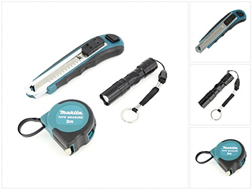 Makita Set Cuttermesser + 3 m Maßband + Mini Taschenlampe