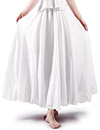 3f712ee02869 OCHENTA Women's Bohemian Style Elastic Waist Band Cotton Long Maxi Skirt