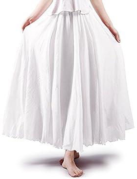 Falda de algodón elástica Ochenta para mujer, estilo bohemio, con cintura larga, vestido largo Blanco blanco 95 cm