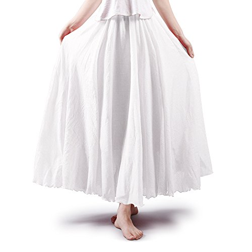 Ochenta Damen Bohemian Style Elastic Taille Band Baumwolle Leinen Lang Maxi Rock Kleid, A-Linie, Weiß, UK1725-03-White-95-new (Style Röcke Bohemian)