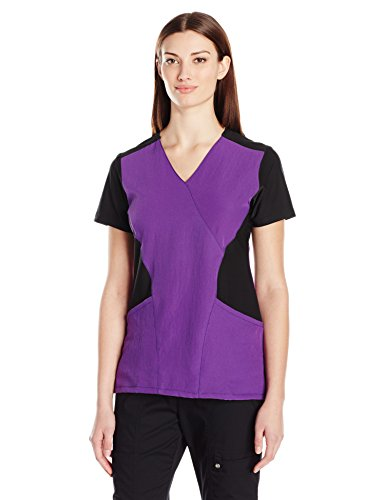 WonderWink Women's Ffx Sport Mock Wrap Scrub Top, Electric Violet, - Wrap Scrubs Womens Mock