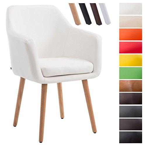 CLP Chaise de visiteur UTRECHT, poids admis 150 kg, en similicuir, piètement en bois de chêne, siège rembourré, avec accoudoirs, protège-sol blanc, Piètement: nature