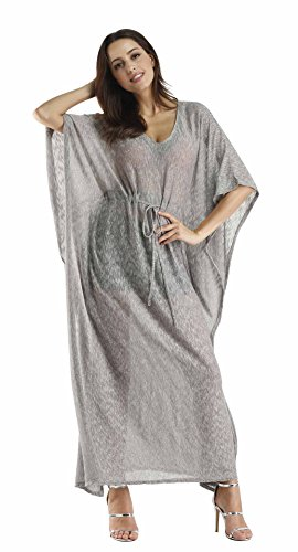Kostüm Marokkanische Frauen (Honeystore Damen V-Ausschnitt Sommer Überwurf Kaftan Strandkleid Bikini Cover Up Grau)