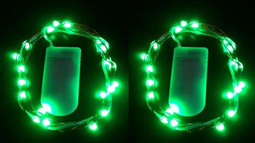 HLS 2 x 30 LED CW Luces de la hada de la batería adentro Verde