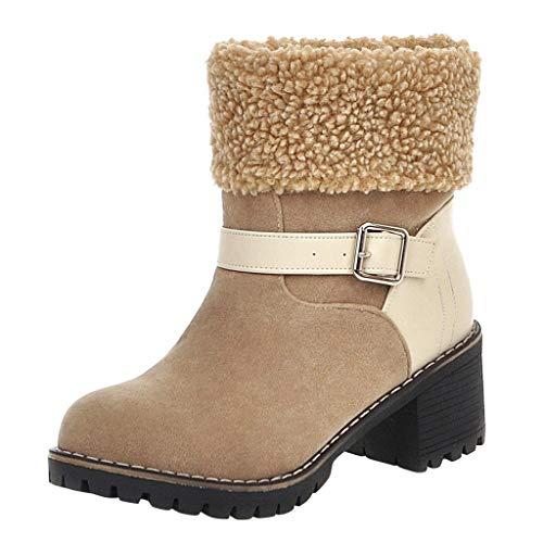 Xuthuly Winter Frauen Klassische Patchwork Wildleder Stiefeletten Komfortable Plüsch Warme Slip On Schneeschuhe Casual Einfache Anti Slip wasserdichte Blockabsatz Stiefel Einzelnen Schuhe