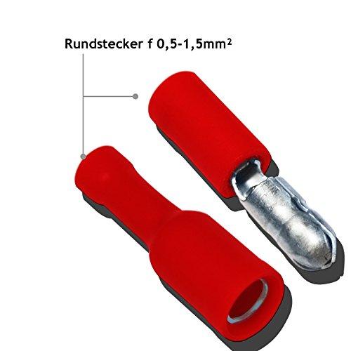 Steckverbinder Flachstecker Kabelschuhe Lötverbinder Quetschverbinder Set Kabelverbinder, Rundsteckverbinder für elektro Installation und Werkstatt- geeignet für Kabelquerschnitte 0,5-1,5 mm² 25,50 oder 100er Set (50)