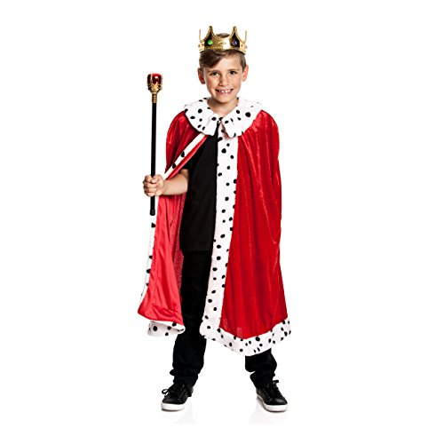 Kostümplanet® König-Kostüm Kinder Königskostüm Kaiser Umhang Mantel Größe - Spielzeug Königreich Prinz Kostüm