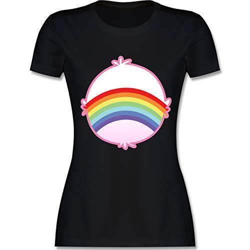 Karneval & Fasching - Cartoon-Bärchis Regenbogen - L - Schwarz - L191 - Damen Tshirt und Frauen T-Shirt