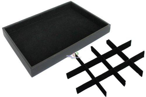 Yudu® Samt -Vorlagebrett Schmucklade 12 Fächern schwarz