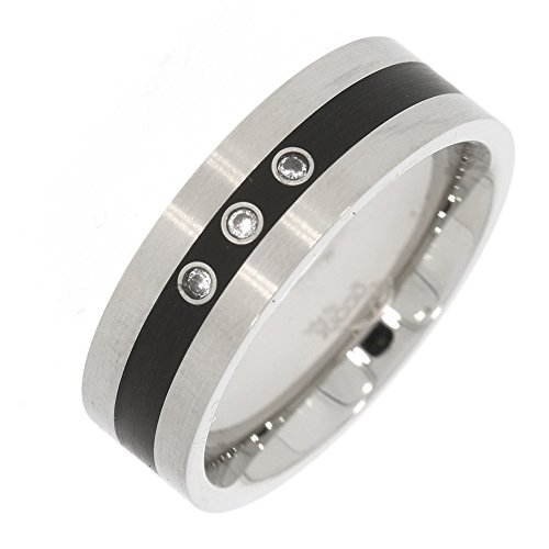 gooix 444-02117 Herren Ring Edelstahl Silber Weiß Zirkonia 19,4 mm Größe 61