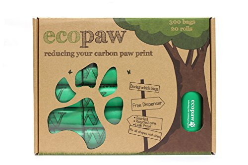 ecopaw Dog Poo Bags   Biodegradable   300 Large Poop Bags   Scented   20 Rolls of Strong Heavy Duty Bags   FREE Straw… 2