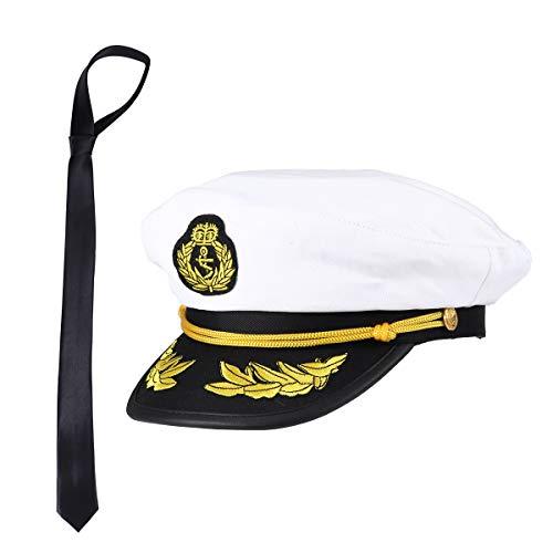 Amosfun Kapitän Mütze und Krawatte Kapitänsmütze Verstellbare Yacht Kapitänsmütze Matrosen Sea Cap Marine Kapitänsmütze Cosplay Halloween Kostüme Hut Krawatte