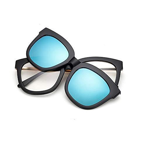 Sonnenbrillen Mode Vollformat-Retro-Sonnenbrille mit austauschbaren Gläsern für Männer Frauen Farbige Linse Unbreakable TR90-Rahmen Clip-on-UV-Schutz-Sonnenbrille mit Magnetic ( Farbe : Blau )