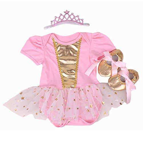 Faldas de Tutú Para el Vestido de Cumpleaños de Muñecas de 20-22 inch Ropa de Bebé Niña Oro rosa