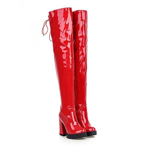 YE-Damen-High-Heels-Plateau-OverKnee-Lack-Schnrstiefel-High-Boots-mit-Blockabsatz-Reiverschluss-Winter-Schuhe