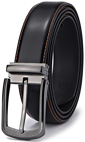 Leather Belt,Bulliant Mens Belt of Genuine Leather with Pin Buckle 1 3/8,Trim to Fit