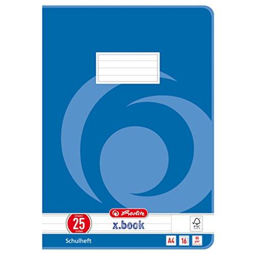Herlitz 3322500 Schulheft A4, kariert mit Rand, Lineatur 25, 16 Blatt, 10er Packung