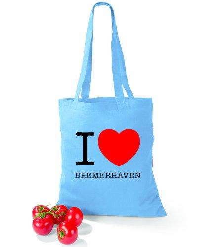 Artdiktat Baumwolltasche I love Bremerhaven Surf Blue