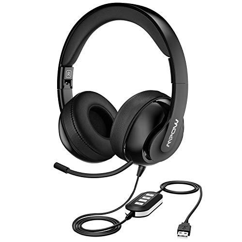 Mpow 224 USB-Headset/3,5 mm Computer-Headset, Geräuschunterdrückung, Headset mit einziehbarem Mikrofon, Faltbare PC-Kopfhörer für Skype, Webinar, Telefon, Call Center schwarz schwarz 3,5-mm-pc