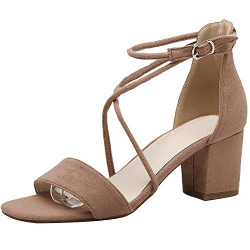 Vogstyle Nuovo Donna Sandali Punta Aperta Alla Caviglia Scarpe Con Cinturino Stile 2-Cammello