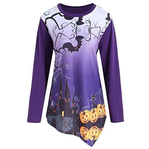(Halloween-Kostüm-Horror Castle Print Kostüm Damen Kapuzenpullover Hoodie Sweatshirt Halloween Kürbis Print Langarm Sweatshirt Pullover Halloween Party Freizeit Top (Violett,XL))