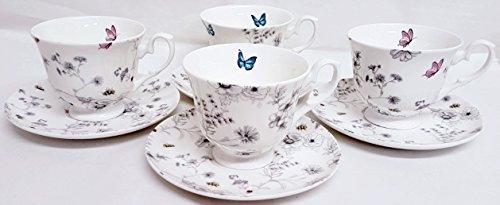 Secret Garden en porcelaine anglaise à thé café Ensemble de 4 tasses et 4 soucoupes Fleurs Papillons et abeilles décorée à la main au Royaume-Uni