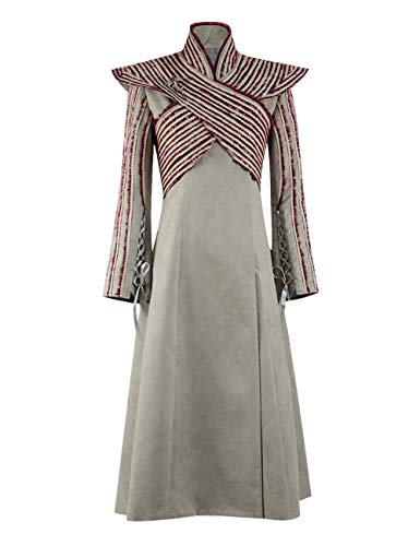 IDEALcos Frauen Cosplay Kostüme Mutter der Drachen Königin Halloween Kleid Outwear Coat (S, Beige 2)