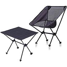 DOUZHE Silla Que acampa Portable & Mesa Plegable Portátil,Compactas y Ultraligeras, Mochilas Plegables