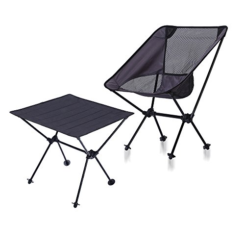DOUZHE Angelstuhl Camping Faltstuhl & Portable Klapptisch,Compact Ultralight Folding Backpacking Stühle in Einer Tragetasche, für Wanderer, Camp, Beach, Angeln, Outdoor