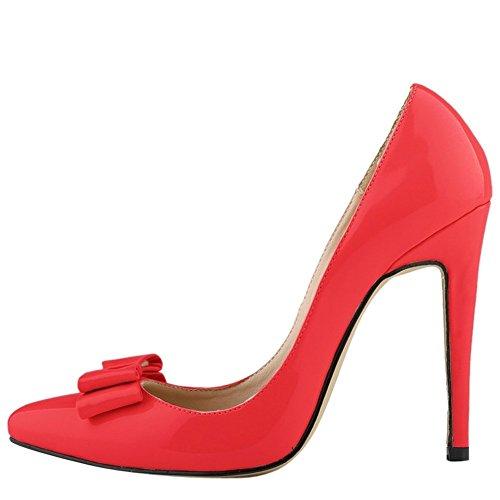 OCHENTA Femme Escarpins En Cuir Verni Talon Haut Aiguille A Enfiler Chaussures Mariage Soiree Avec Plusieurs Couleurs Rouge