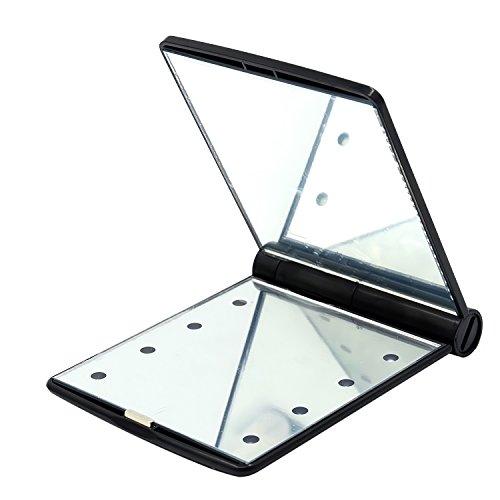 Vococal® Mesdames Les Femmes Maquillage Cosmétiques Compact Portable Pliante Miroir de Poche-8 Led Lumière Noir