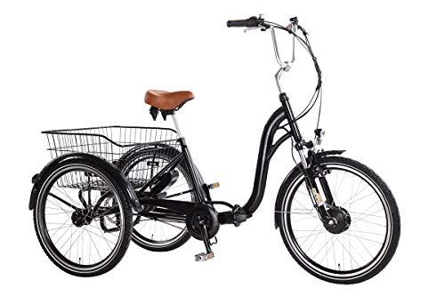 """Ebici Tryme2 - Triciclo elettrico, 3 ruote da 24\"""" (60,96 cm), motore da 250W, 36V, 11 Ah, cambio 7velocità"""