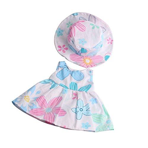MagiDeal Puppenkleider Blumenkleid & Hut Anzug, Puppe Outfit Für 18 Zoll American Girl Puppe - Mehrfarbig (Kleider Für American Girl-puppen)