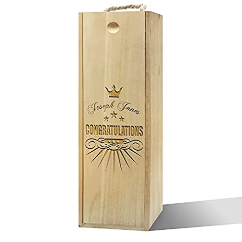 Twisted Envy Personalised Congratulations Crown Wooden Wine Box